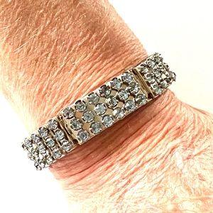1950s expansion bracelet Blue Rhinestone stretch